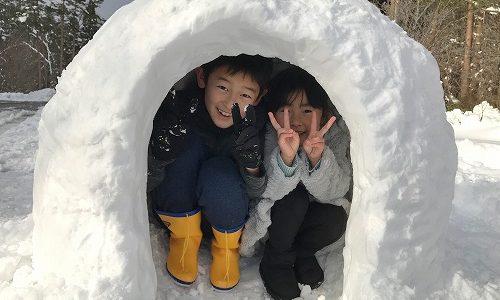 土曜日の午後の雪遊び