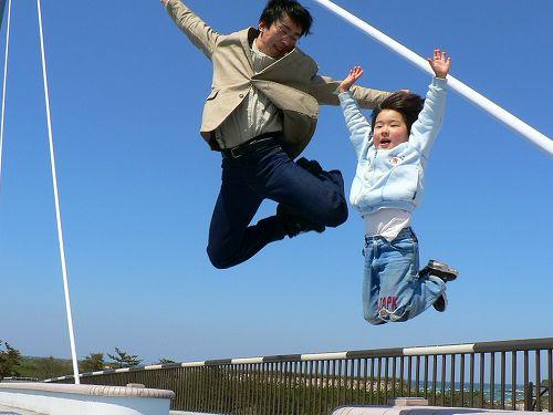 親子ジャンプ。